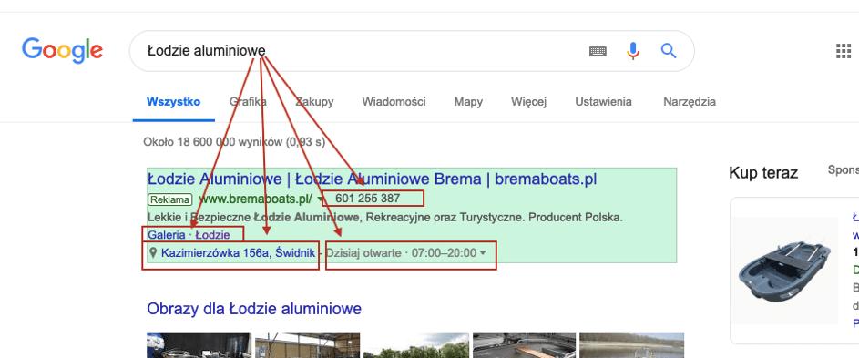 rozszerzenia kampanii google ads